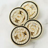 Chanel Buttons 4pc CC Gold & Crystals 20mm 4 Buttons unstamped AUTH!!!