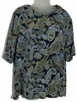 Vintage Galinda Wang Blouse Silk Top Short Sleeve Paisley Floral Print Blue 18W