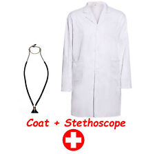 ADULTS UNISEX WHITE DOCTOR LAB LABORATORY MEDICAL COAT STETHOSCOPE POCKETS