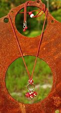Art glass beads red with green corded Necklace