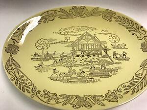 "Vintage Bucks County by Royal Sebring OHIO Farm Scene Oval 13"" Serving Platter"