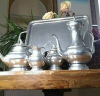 VINTAGE 5 PIECE (95%PEWTER) COFFEE AND TEA SET w TRAY