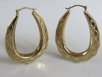 9ct Gold Earrings - 9ct Yellow Gold Oval Hollow Hooped Patterned Earrings