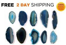 6 AGATE SLICES Set Lot BLUE Crystal Stones AUTHENTIC Slice Geode SUPER LARGE