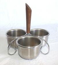 Vintage Mid Century Atomic Wood Handle Condiment Server 3 Stainless Steel Bowls
