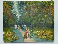 Old Oil Painting /C, Signed Tommasini, Victorian Ladies in Garden, 20.5 x 25.5cm
