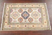 IVORY Geometric Super Kazak Oriental Area Rug Hand-made WOOL Kitchen Carpet 2x3