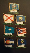 (7) 1930s Collectible/Vintage Metal Waving U.S. State Flag Pocket Pins