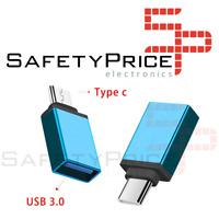 Adaptador USB 3.0 Hembra a Tipo C USB 3.1 Macho OTG AZUL