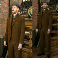 Brown Corduroy Style Men's Hunting Suits Vintage Retro Sports 3 Pieces Tuxedos
