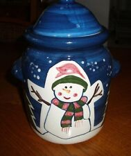 10 1/2 CERAMIC  SNOWMAN COOKIE JAR ~ CHRISTMAS ~ NEW IN BOX