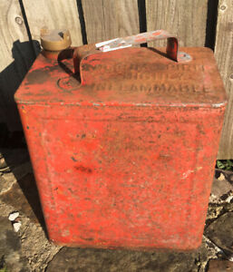 Vintage Petrol Can with  Brass  cap great for Man Cave