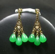 Gold Plate Green JADE Earring Earrings Dangle Teardrop Diamond (Imitation 256312