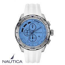 Nautica . NAI19520G . Armband Uhr Herren . Chronograph . Silikon . weiss . NEU