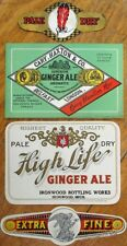 Soda Labels FOUR 1920s - Ginger Ale - Ironwood, Michigan MI & Cary, Haxton & Co.