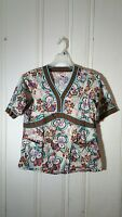 KOI SCRUB TOP MULTI COLOR FLORAL MEDIUM SHORT SLEEVE GRAPHIC