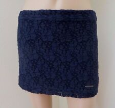 NEW Abercrombie Womens Floral Lace Fitted Mini Skirt Size Small Navy Blue