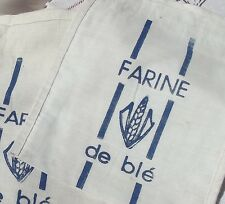 Vintage French Flour Sack Metis cotton Linen Cloth Bag Farine Wheat Printed
