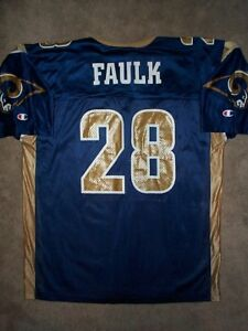 *IRREGULAR* St Louis Rams MARSHALL FAULK nfl Jersey Adult MENS/MEN'S (L-LARGE)