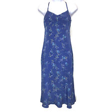 Vintage Express Dress 1 2 World Brand Blue Floral Spaghetti Strap Midi