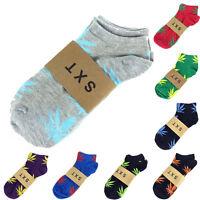 Men Women Unisex Maple Leaf Cotton Marijuana Weed Low Ankles Socks 14 Colors AU
