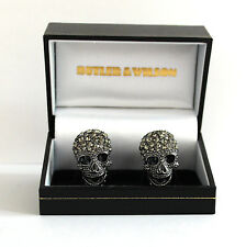 Butler and Wilson Large Pewter Crystal Skull Cufflink NEW