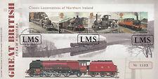 Gb 2013 Fdc Duquesa Sutherland placa cubierta 4v locomotoras de Irlanda del Norte