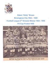 EDDY BROWN BIRMINGHAM CITY 1954-1959 RARE ORIGINAL HAND SIGNED PICTURE CUTTING