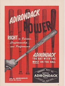 VINTAGE MAGAZINE AD #00608 -1960s ADIRONDACK BASEBALL BATS - RIGHT IN BALANCE