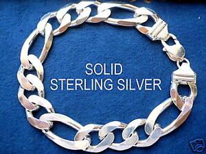 """14MM 925 STERLING SILVER MEN'S FIGARO LINK BRACELET 8""""9"""""""