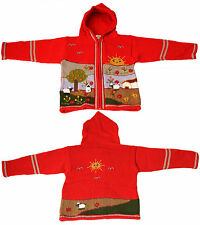 Strickjacke mit Kapuze Jacke für Kleinkinder Baby St. Peter Trachten  rot 80