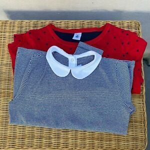 Girls Petit Bateau Tops, Red with Hearts, Striped with Peter Pan Collar