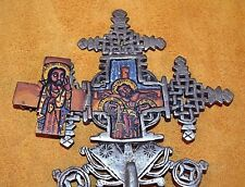 Ethiopian Coptic Christian Metal Processional Cross Hand Painted Icons, Ethiopia