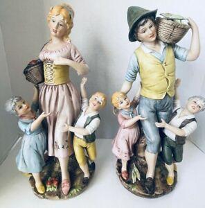 "2 Bisque Porcelain 16"" Figurines Man Woman Kids Farmers Harvesting Vegetables"