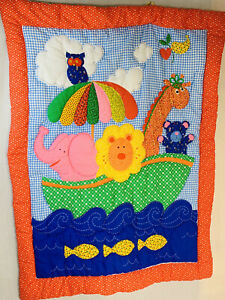 VINTAGE Quilt Wall Hanging Animals Child Crib Toddler Bright Colors