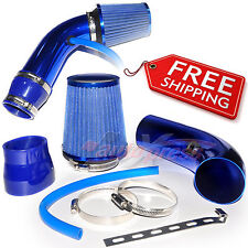 """2.5-3.0"""" UNIVERSAL COLD AIR Intake INDUCTION HOSE KIT System Narrow Filter BLUE"""