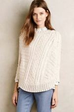 Anthropologie Angel of the North Curved Cables Poncho sz small batwing sweater