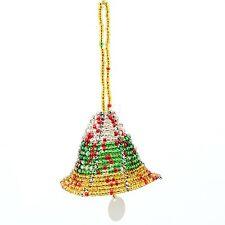 Multi Color Handmade African Maasai Bead Christmas Tree Bell Ornament