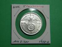 UNC German 🇩🇪 5 Mark Silver Coin Third Reich Large Swastika Reichsmark 1938-D