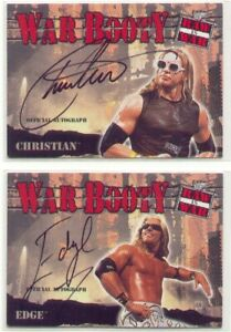 Edge & Christian WWE WWF AEW Fleer War Booty autograph card lot auto 2001