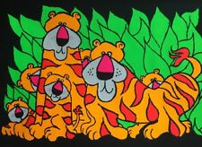 Tigers Original Vintage Blacklight Poster Psychedelic Pin-up Tiger Cubs Animals