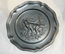~ Handsome VINTAGE ZINN PEWTER Scalloped RELIEF Wall PLATE BAYING DEER GERMANY