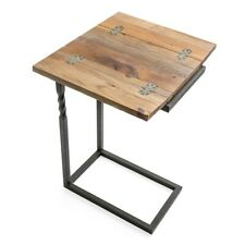 Rustic Table with Fold Out Leaves Reclaimed Wood Metal Frame 25