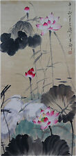 """Excellent Chinese 100% Hand Painting & Scroll """"Lotus & Birds"""" By Wang Xuetao 王雪涛"""