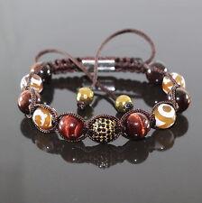Herren AFRIKA Edelstein Armband Zircon Rot Tiger, Männer Shamballa verstellbar