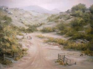 Tijuana, Mexico 9x12, original oil by Celene Farris. Border town, village desert