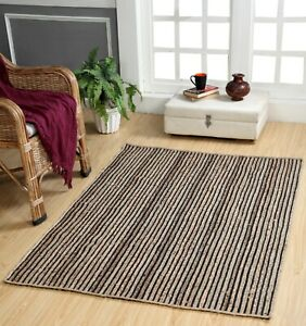 CHAKKAR DARK Stripe Braided Jute Area Rug Small Medium Large