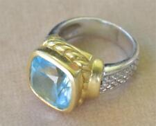 Judith Ripka solid 18k Gold / Sterling Silver Blue Aquamarine? Ring Sz.7 14g