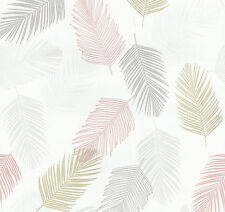 Vlies Tapete PS Infinity 13480-50 zarte Federn weiß gelb rosa  grau