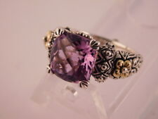 BARBARA BIXBY RADIANT CUT AMETHYST 18K GOLD FLOWERS STERLING RING 3.25 CTW 6.75